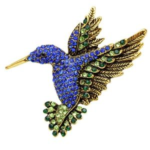 Jewelry - Crystal Accented Hummingbird Brooch NEW  Pendant!